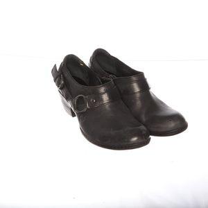 Born Leather Black Womens Clog Heel Strap 6.5